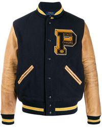 Ralph Lauren Contrast Sleeve Varsity Jacket - Blue