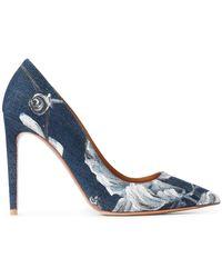 Ralph Lauren Collection Escarpins pointus à fleurs - Bleu