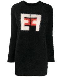 Elisabetta Franchi インターシャ ニットドレス - ブラック
