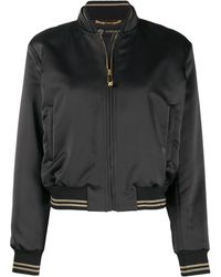 Versace Атласная Куртка-бомбер С Вышивкой - Черный