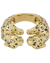 Cartier Pre-owned 18kt Yellow Gold Enamel Double Panthère Ring - Metallic