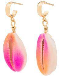 Venessa Arizaga Gold-plated Summer Shell Drop Earrings - Pink