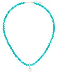 Mateo 14kt Yellow Gold Turquoise Beaded Necklace - Blue