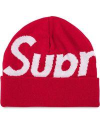 Supreme Big Logo Beanie Hat - Red