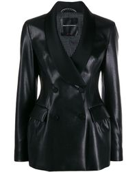 Ermanno Scervino Double-breasted faux-leather jacket - Negro