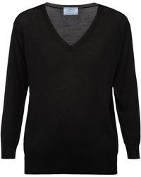 Prada Vネック セーター - ブラック