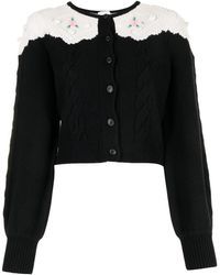 Alice McCALL Floral Embroidered Knit Cardigan - Black