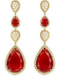 Boucheron 18kt Yellow Gold Diamond Serpent Bohème Drop Earrings - Metallic