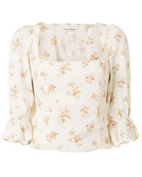 Reformation Ana Floral-print Blouse - White