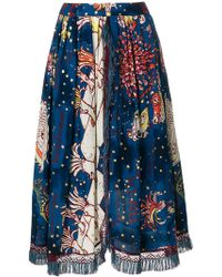 Tsumori Chisato - Fringe Detail Printed Skirt - Lyst