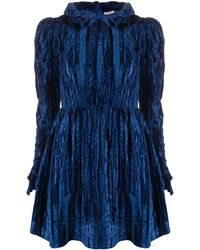BATSHEVA Ruffle-trimmed Velvet Mini Prairie Dress - Blue