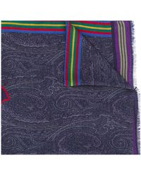 Etro ロゴ スカーフ - ブルー
