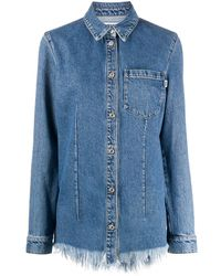 MSGM Джинсовая Рубашка С Бахромой - Синий