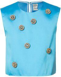 Maison Rabih Kayrouz 装飾クロップドトップス - ブルー