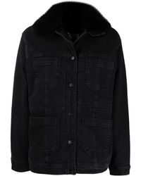 Liu Jo エコファーカラー デニムジャケット - ブラック