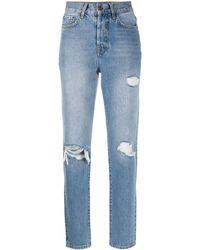 Anine Bing ダメージ ストレートジーンズ - ブルー