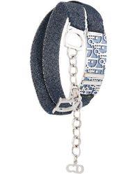 Dior 2000s Dior Plaque Jeans Double Bracelet - Blue
