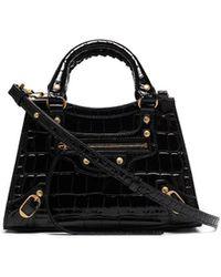 Balenciaga Sac à bandoulière Neo Classic à effet peau de crocodile - Noir