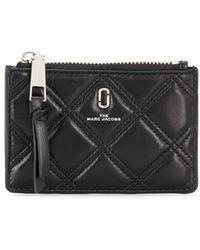 Marc Jacobs Portefeuille matelasse noir Softshot Top Zip Multi