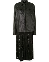 Goen.J レース シャツドレス - ブラック