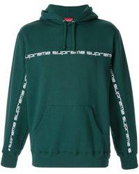 Supreme Text Stripe Hooded Sweatshirt - Green