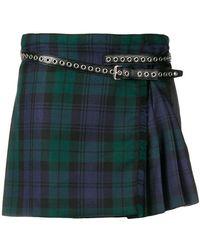 Miu Miu - Pleated Plaid Mini Skirt - Lyst
