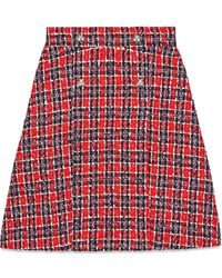 Gucci Tweed check A-line skirt - Rosso