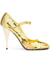 Miu Miu Sequin Mary Jane Court Shoes - Metallic