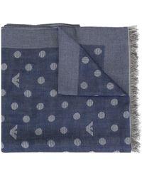 Emporio Armani Schal mit Logo-Print - Blau
