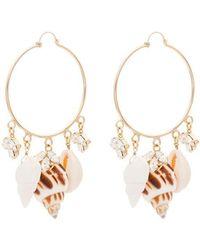 Anton Heunis - Metallic Gold Shell Crystal Charm Embellished Hoop Earrings - Lyst