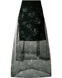 Dorothee Schumacher Tiered floral printed sheer skirt - Nero