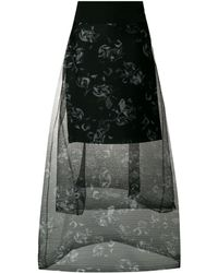Dorothee Schumacher Tiered floral printed sheer skirt - Nero