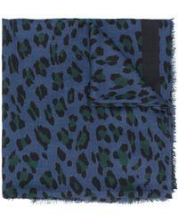 Mulberry Платок С Леопардовым Принтом - Синий