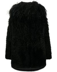 Prada Feather-trimmed Coat - Black