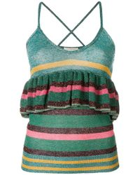 L'Autre Chose - Ruffle Trim Striped Vest - Lyst