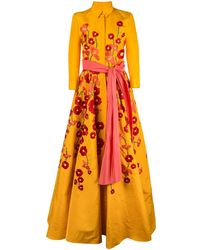 Carolina Herrera Floral Embroidered Shirt Gown - Yellow