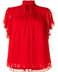 Adam Lippes Flounce Sleeve Blouse - Red