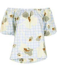 Lee Mathews Floral Gingham-print Off-the-shoulder Top - Blue