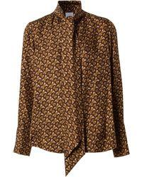 Burberry モノグラム ボウタイシャツ - ブラウン