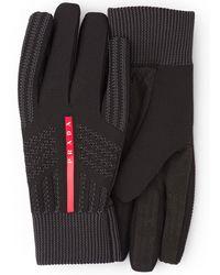 Prada Logo Knitted Gloves - Black