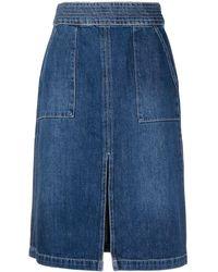 FRAME High-waisted Denim Skirt - Blue