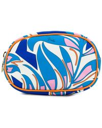 Emilio Pucci Printed Leather-trimmed Makeup Bag - Blue
