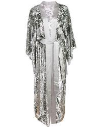 Fleur du Mal Fil Coupe Silk Kimono - Grey