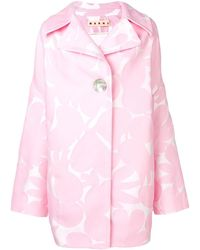 Marni Пальто С Цветочным Принтом - Розовый