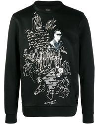 Fendi Karl Kollage スウェットシャツ - ブラック