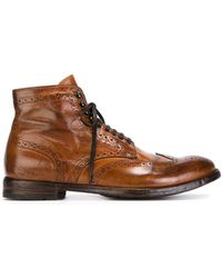 Officine Creative Distressed Brogue Boots - Brown