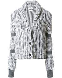 Thom Browne Bi-Colored Chunky Shawl Collar Cardigan - Gris