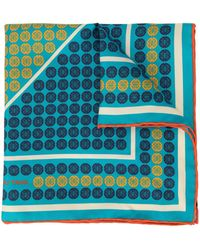 Shanghai Tang Geometric Shòu Print Pocket Square - Blue