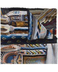 Faliero Sarti グラフィック スカーフ - ブルー