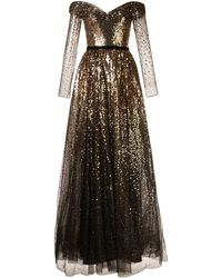 Marchesa notte Off-the-shoulder Sequin Gown - Metallic